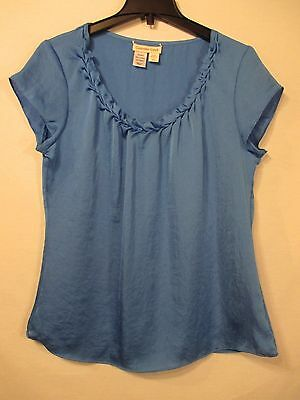 Coldwater Creek Blue Ruffled Scoop Neck 100  Polyester Career Top   Size M 10 12