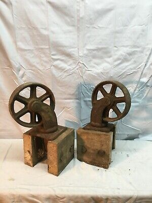 Vtg Heavy Duty Luggage Cart Pair Cast Iron Industrial Swivel Caster 7.5 Wheels