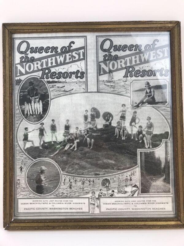 "10-1/2 x 12"" Washington PACIFIC County Northwest BEACHES Vtg Framed Advertising"