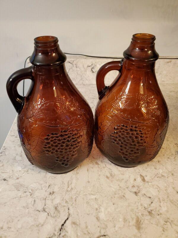 Vintage 1/2 Gallon Maywood Glass Cameo Brown Amber