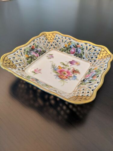 Vintage Dresden Schumann Silesia Line Lattice Reticulated Floral Pin Dish 5.5""