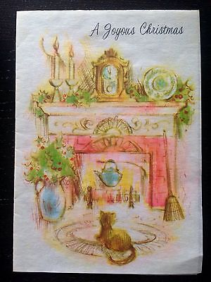 Vintage Unused Christmas Card Vellum Paper Fireplace Mantel Clock Cat Holly