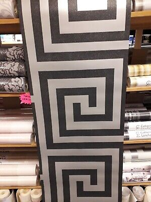 Debona Anthena Black/Silver Glitter Greek  key Wallpaper 4010