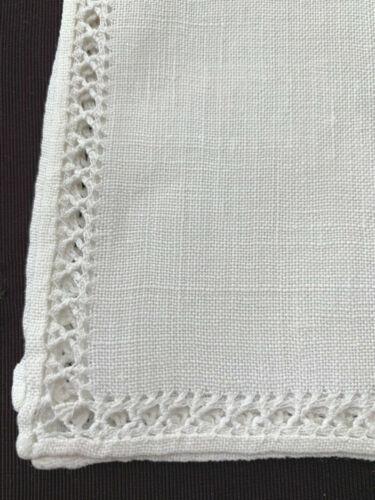 "set 8 antique linen napkins light cream 16"" sq plain with fancy laddered edges"