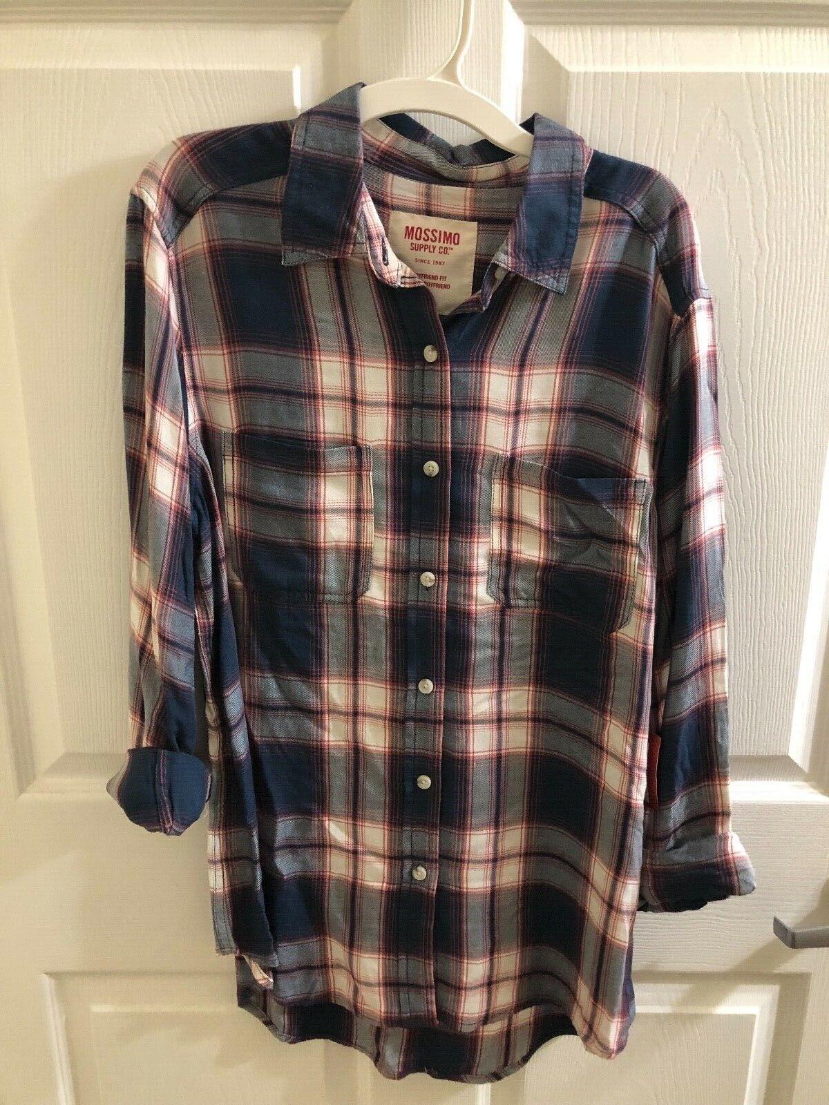 Mossimo Supply Co - Women's Navy Flannel Shirt - Boyfriend F