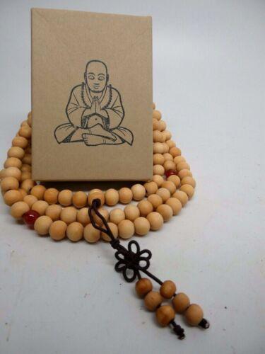 """Fragrant  White Wood Yoga Meditation Prayer Beads Mala Necklace 30"""" With Box"""
