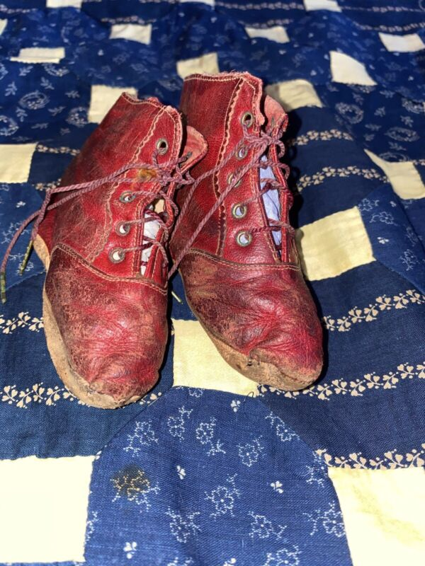 Antique Victorian Red Leather Lace Childs Booties Shoes