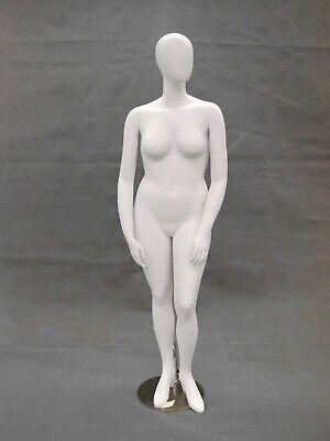 Plus Size Female Egg Head Matte White Standing Mannequin With Base