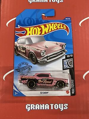57 Chevy #180 Pink 10/10 Rod Squad 2020 Hot Wheels Case K