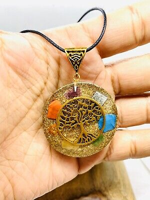 Orgone 7 Chakra Tree of Life Pendant EMF Copper Orgonite Protection Necklace