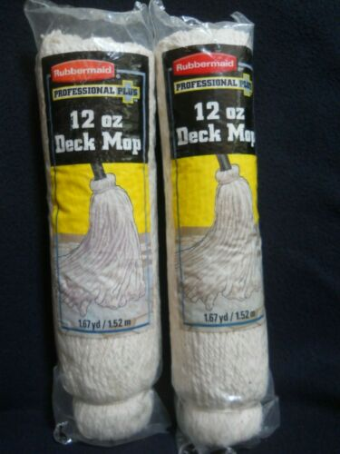 2 2003 Rubbermaid Professional 12 oz Deck Mop Replacement Heads / NEW