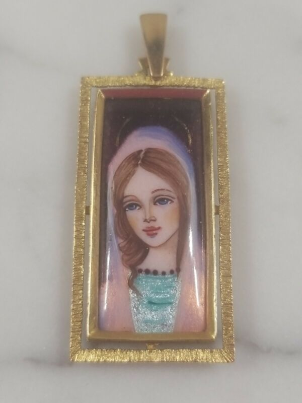 RARE VINTAGE CORLETTO ITALY 18k GOLD MADONNA CHRISTIAN PENDANT CHARM NECKLACE