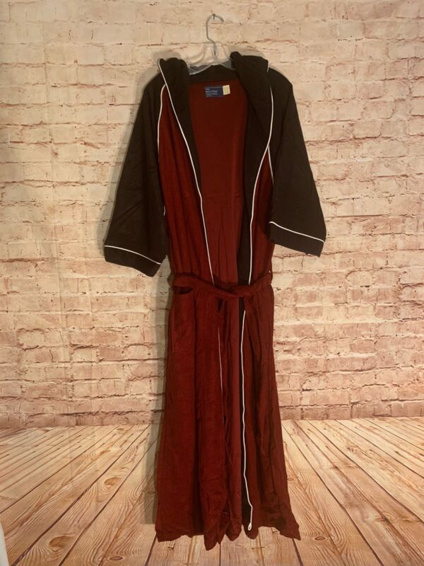 Vintage 1970's JCPenney  One Size Robe Burgundy, Black & White Accent.