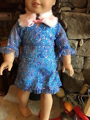 American Girl Doll Beautiful Dress with separate fur collar Doll not included