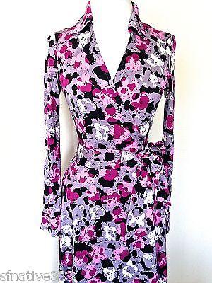DIANE VON FURSTENBERG WARHOL FLORAL SPLATTER PINK JEANNE POP WRAP SILK DRESS 2 4 Diane Von Furstenberg Silk Dress