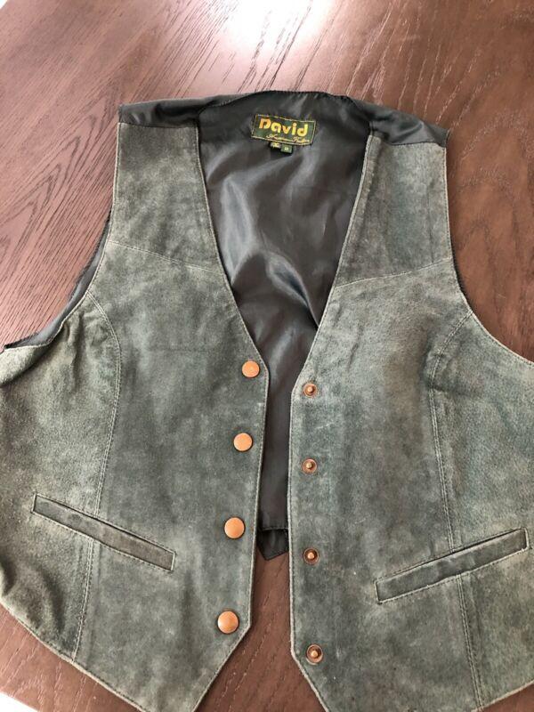 David American Fashion Vintage Suede Leather Green Vest Size Medium