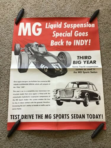 1966  British MG  original dealership racing poster.