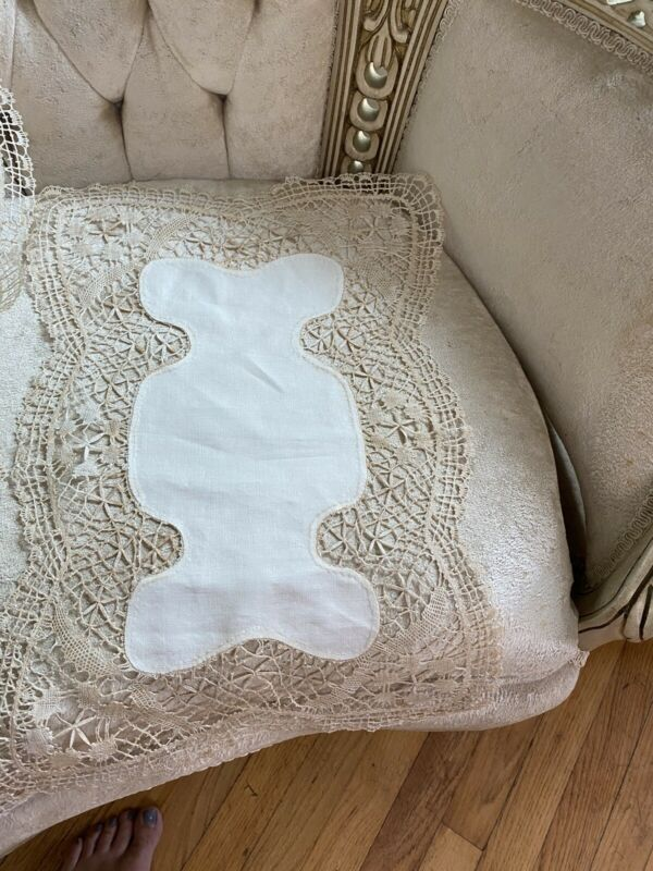 Antique Irish Linen Ornate Crochet Irish Lace Trim Set 8 Place Mats Hand Sewn