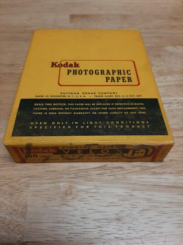 1 Vintage Sealed 100 Sheet Box of 4x5in. Kodak Velox F-1 Paper- Expired 12/52