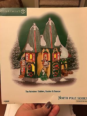 department 56 North Pole Series The Reindeer Stables, Dasher & Dancer
