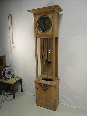 Standuhr Antik Eiche Uhr Säule 2 Gewichte Kastenuhr Freischwinger Rarität Wo1d