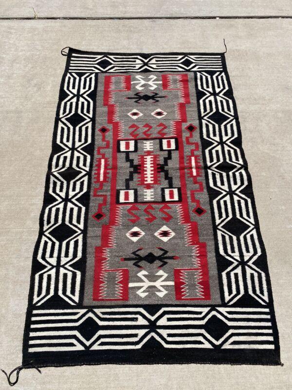 OLD Navajo Wool Rug - Waterbugs or Storm Pattern 75x43 Southwest