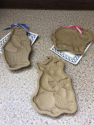 NEW Vintage Brown Bag Cookie Art Mold Pig Eating Watermelon 1992 Hill Design