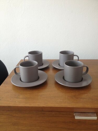 4 Cups w Saucers Calvin Klein Swid Powell Stoneware Brown