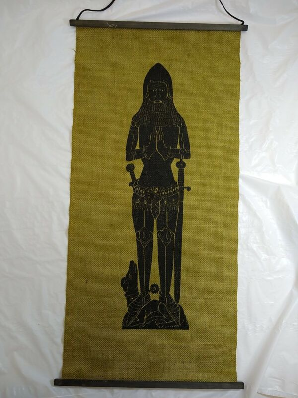Medieval Knight Brass Rubbing Screen Print on Hessian Sir John Pecok Wall Hangin