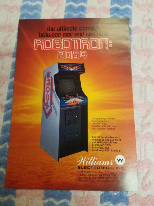 Williams Robotron 2089 Original 1986 Arcade Game Machine Sales Flyer