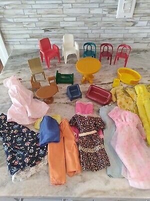 Estate Sale lot of Barbie Doll Clothes and Doll House Furniture.