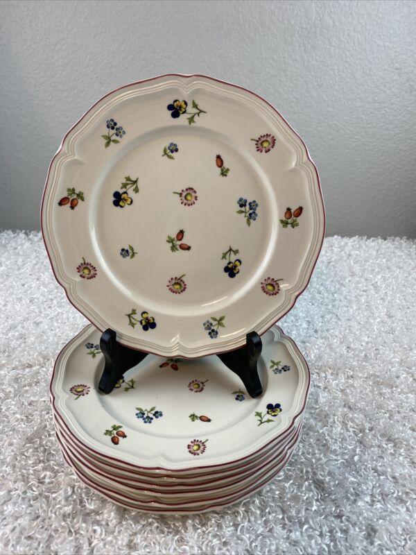 Villeroy & Boch Petite Fleur Vitro Porcelain Floral Set of 7 Salad Plate 8.25 In