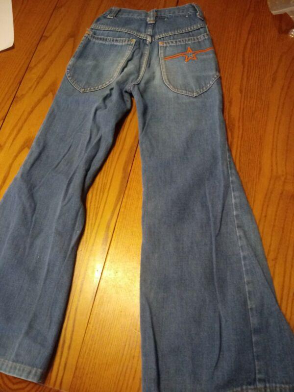 Vintage Childs Kids 70s Bell Bottom Star Pocket Denim Jeans Size 8