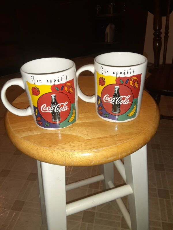 "Two 1996 Coca-Cola Collectible Coffee Mug Cup ""Bon Appetit"""