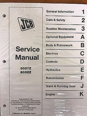Jcb Service 8027z 8032z Mini Excavator Repair Manual 98039300