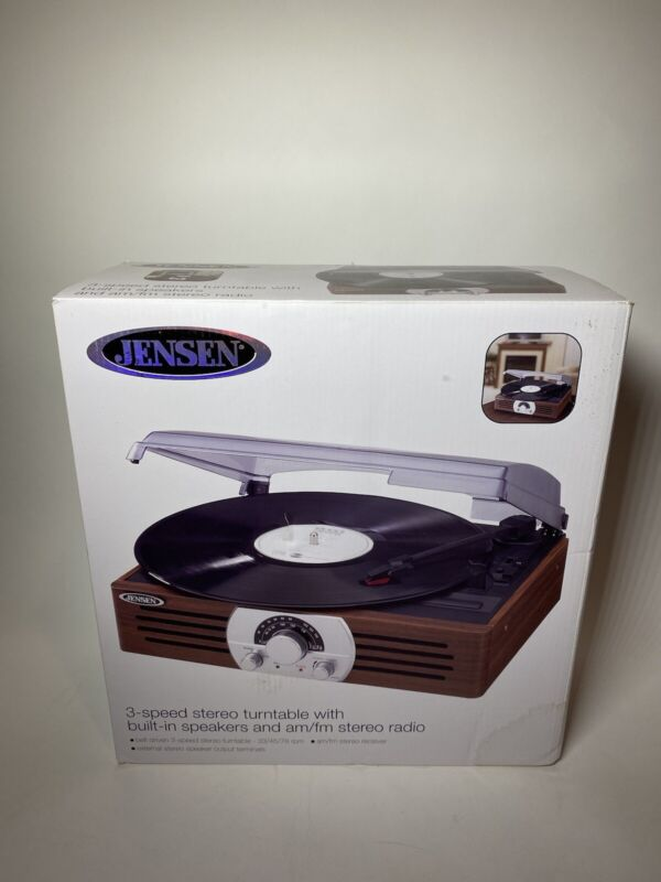 Jensen 3-Speed Stereo Turntable with Pitch Control and AM/FM Stereo JEN-JTA-222