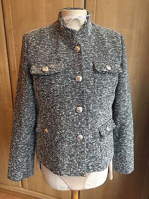 Black & White Jacket with Mandarin Collar & Silver Statement Buttons Size UK 10 for sale  Shipping to Ireland