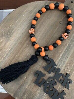 Halloween Themed Wood Bead Garland Black and Orange w/Trick or Treat Wood Tag