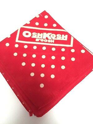 Red Polka Dot Bandana (Oshcosh Red Bandana Cotton Vtg Wisconsin Clothing Co USA White Polka Dot NOS)