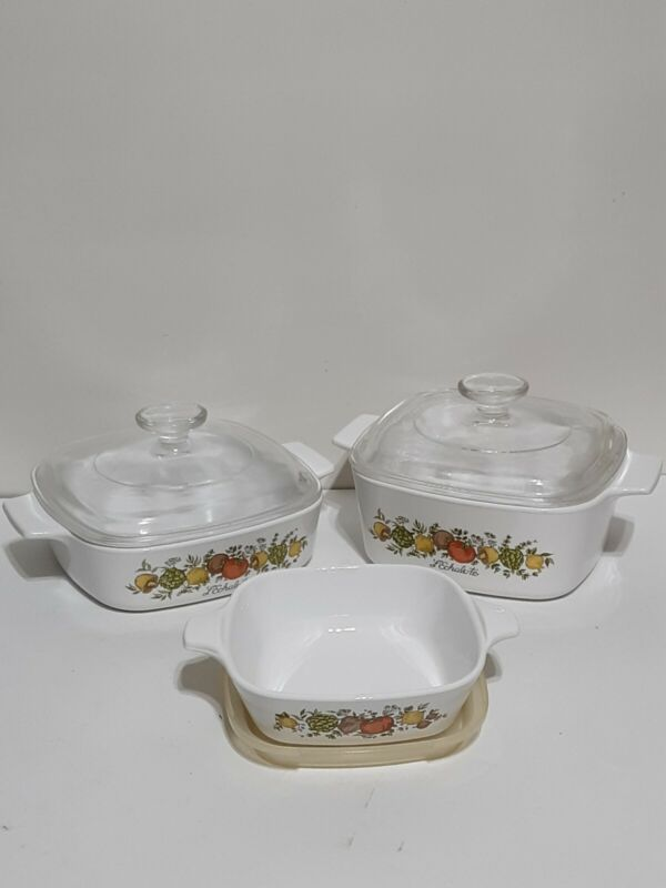 Vintage Corning Ware 6pc Spice of Life Casserole Baking Dishes w/Lids▪MINT