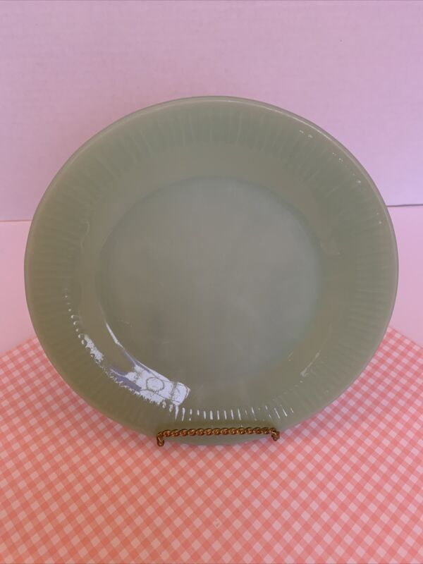 "7.75"" Salad Plate Jadeite Jane Ray Pattern Fire King Glass 1945-63 VGUC"