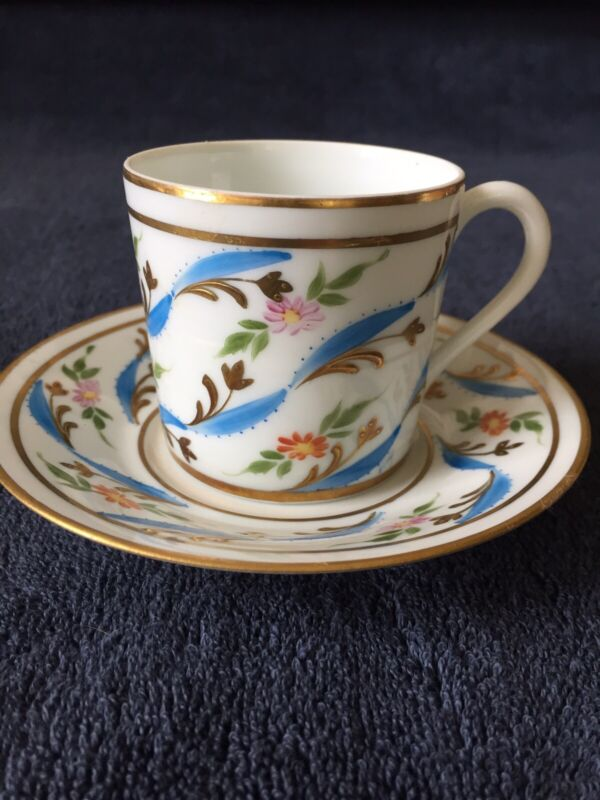 VINTAGE DEMITASSE CUP AND SAUCER- HAND PAINTED FOR SAKOWITZ- LIMOGES, FRANCE