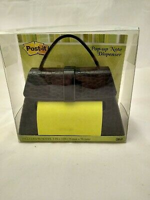 New 3m Post It Note Dispenser Black Handbag Purse W Designed Notes 3 X 3 Htf