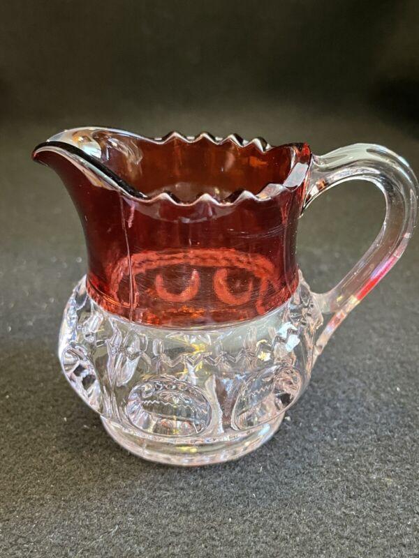 Kings Crown Ruby Flash Creamer by US Glass