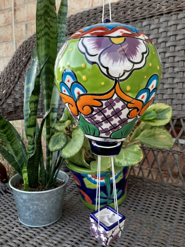 Mexican Talavera Yard Garden Art Hanging Hot Air Balloon