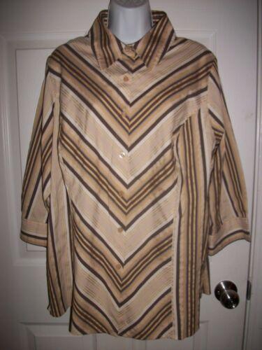 Apostrophe Woman Brown & Beige Striped Shirt Size 16- 18W