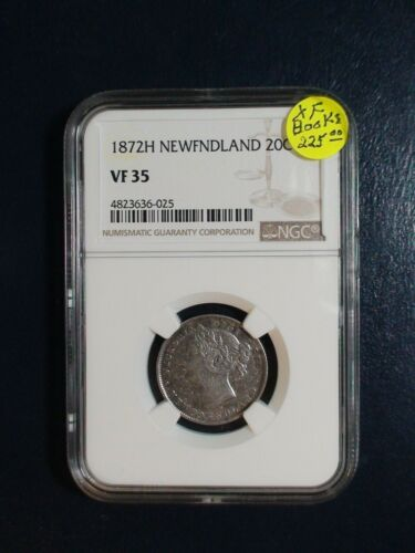 1872H NEWFOUNDLAND Twenty Cents NGC VF35 SILVER 20C Coin PRICED TO SELL!