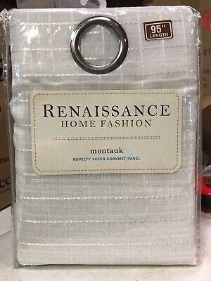 Renaissance Home Fashion Montauk Sheer Drapery Curtain Panel White