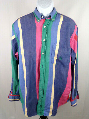Nautica Mens Large Vintage 90's Bright Striped Long Sleeve Button Down Shirt A11