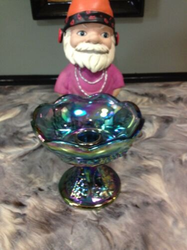 VINTAGE INDIANA BLUE CARNIVAL GLASS CANDLE HOLDER HARVEST GRAPE